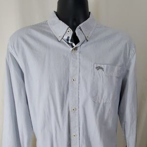 AMERICAN RAG Blue Striped Shirt Size L
